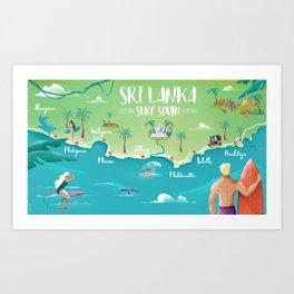 Surf Map Sri Lanka South Art Print