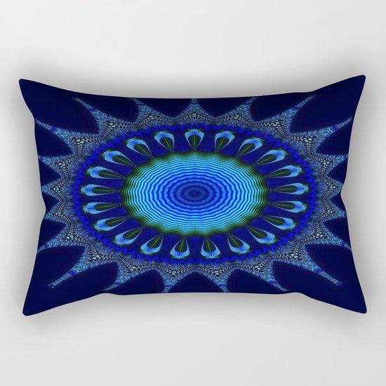 Blue kaleidoscope fractal star Rectangular Pillow