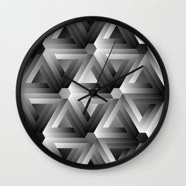 Monochrome penrose triangles Wall Clock