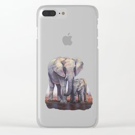 Elephants Mom Baby Clear iPhone Case