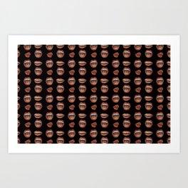 Loose Lips (on Designer Black Background) Art Print