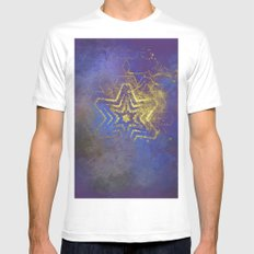 Gold star with purple  mandala MEDIUM White Mens Fitted Tee