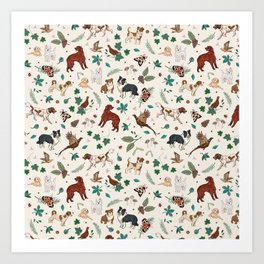 Woodland Walkies for the Dogs  Art Print