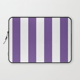 Vertical Stripes - White and Dark Lavender Violet Laptop Sleeve