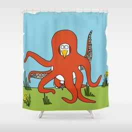 Eglantine la poule (the hen) dressed up as an octopus Shower Curtain