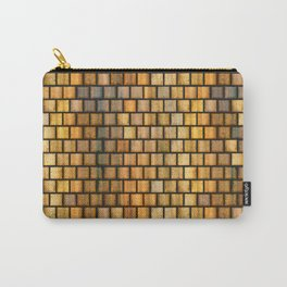 Wooden Distressed Block Tile Pattern Carry-All Pouch