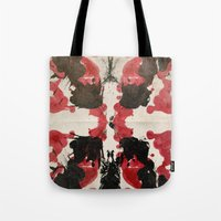 rorschach Tote Bags featuring Rorschach by ICutThings