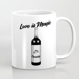 Love Is Magic Wedding Rings LGBT - WINE BOTTLE Coffee Mug