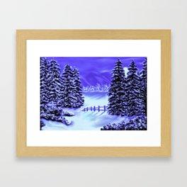 Moon Over The Mountain Framed Art Print