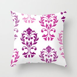 Heart Damask Art I Pinks Plums White Throw Pillow