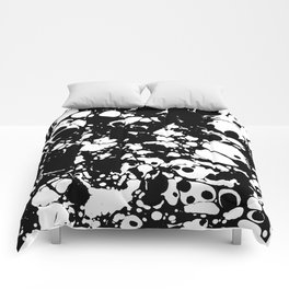 Black and white contrast ink spilled paint mess Comforters
