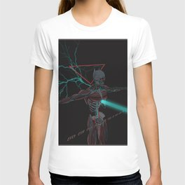 Cyberpunk neon knight shull 80s synthwave scifi horror warrior T-shirt