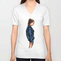 tumblr V-neck T-shirts featuring Tumblr girl by vooce & kat