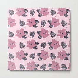 Hibiscus in Pink and Navy Metal Print