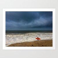 surfboard Art Prints featuring Orange Surfboard by PACIFIC OBLIVION