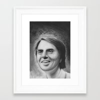sagan Framed Art Prints featuring carl sagan by dollface87