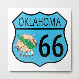 Route 66 Oklahoma sign and Flag Metal Print