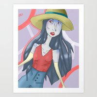 marceline Art Prints featuring marceline!! by clairen0vak