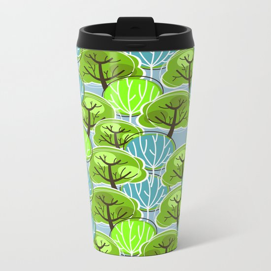 Retro Trees, in blue and green Metal Travel Mug