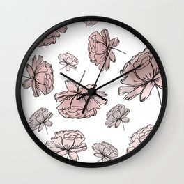 Hand Drawn Peonies Dusty Rose Wall Clock