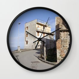 Little Village at the Sea - Forza d'Agro - Sicily  Wall Clock