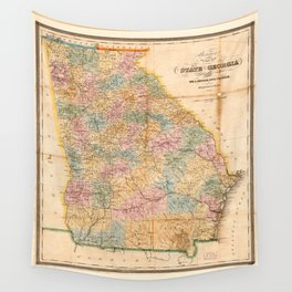 Bonner's pocket map of the state of Georgia (1848) Wall Tapestry