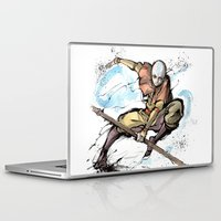 airbender Laptop & iPad Skins featuring Aang from Avatar the Last Airbender sumi/watercolor by mycks