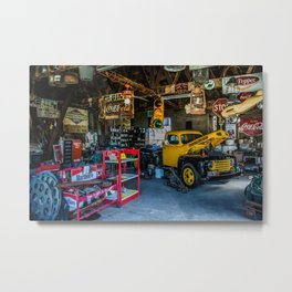 Tow Truck Garage at Restored Service Station on Route 66 in Missouri Metal Print