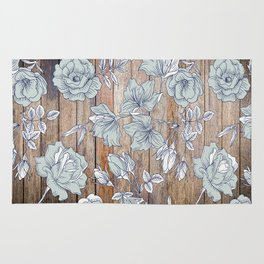 Roses in Blue on Wooden Texture Rug