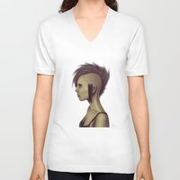punk V-neck T-shirts featuring Punk by quintao