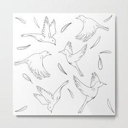 Little Birds Pattern Hand Drawn Minimal Art  Metal Print