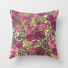 Chic stylish gold pink burgundy green watercolor flowers Throw Pillow
