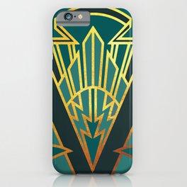 Art Deco Lightning In Turquoise iPhone Case