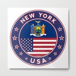 New York, USA States, New York t-shirt, New York sticker, circle Metal Print