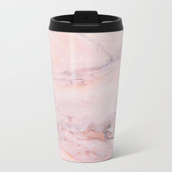 Blush Marble Metal Travel Mug