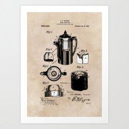 patent China Coffee pot - Blanke - 1909 Art Print
