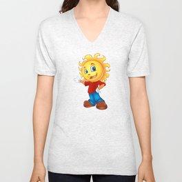 Happy Sun Cartoon Mascot  Unisex V-Neck