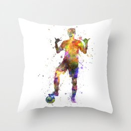brazilian soccer football player young man saluting  silhouette Throw Pillow