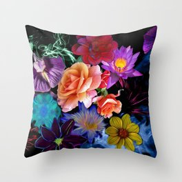 Colorful Fractal Flowers Throw Pillow