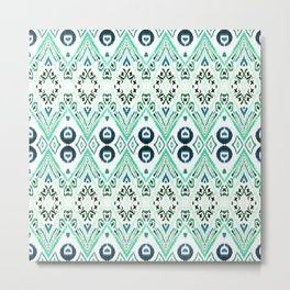 Ikat Java Mint Metal Print