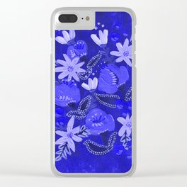 Blue Blossoms Clear iPhone Case