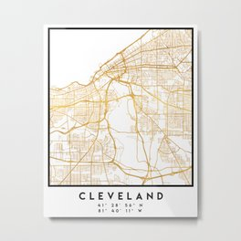 CLEVELAND OHIO CITY STREET MAP ART Metal Print