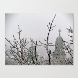 Ice and Fog in Portland, Maine (2) Canvas Print