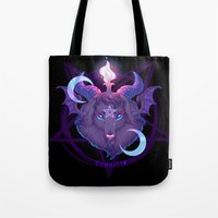 baphomet Tote Bags featuring Baphomet (BLACK) by Gunkiss