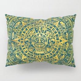 Gold  Aztec Inca Mayan Calendar Pillow Sham