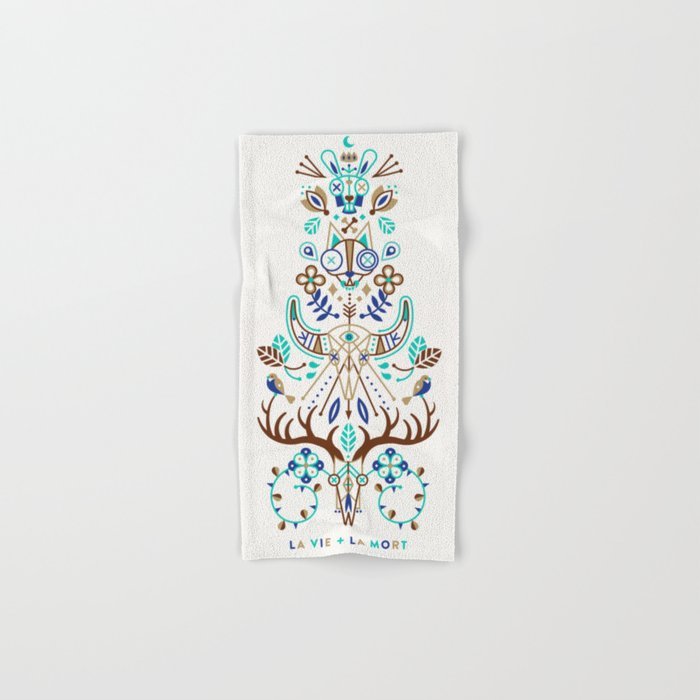 La Vie & La Mort – Turquoise and Brown Hand & Bath Towel
