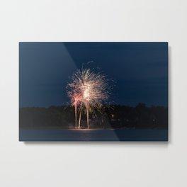 Fireworks Over Lake 25 Metal Print