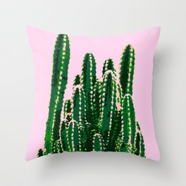 Big and Beautiful Cactus on Pink Background Throw Pillow