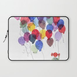 girl with balloons whimsical watercolor illustration Laptop Sleeve