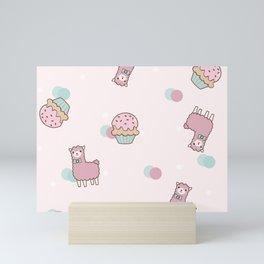 Pink Cute Llama and Cupcake Mini Art Print